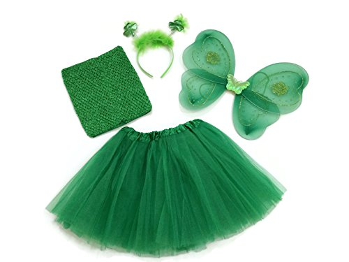[Rush Dance Saint Patrick's Day Shamrock Set - Wings, TutuTop, Headband & Tutu] (Cute Kids Dance Costumes)