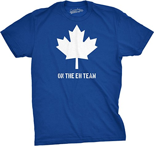 Crazy Dog TShirts - Mens On The Eh Team Canada T Shirt Funny Patriotic Novelty Sarcasm Tee For Guys (Blue) - L - herren - L