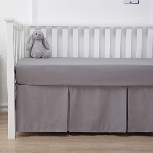 (Belsden Crib Skirt with Durable Woven Platform for Boy and Girl, Front Side Pleated, Split Corners Dust Ruffle for Easy Placement Inside of Standard Crib, 14 inches (36cm) Length Drop, Grey Color)