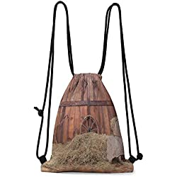 Luxurious Storage Bag Barn Wood Wagon Wheel,Rural Old Horse Stable Barn Interior Hay and Wood Planks Image Print, Brown Dust W13.8 x L17 Inch Bags Gift