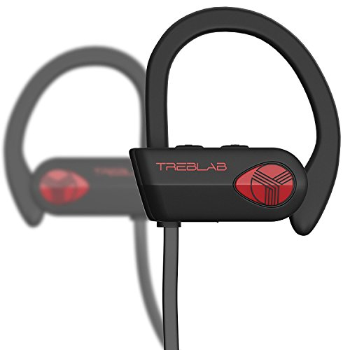 TREBLAB XR500 Bluetooth Headphones, Best Wireless Earbuds for Sports, Running or Gym Workout. 2018 Updated Version. IPX7 Waterproof, Sweatproof, Secure-Fit Headset. Noise Cancelling Earphones w/Mic by Treblab (Image #1)