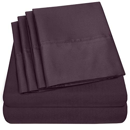 Sweet Home Collection Size 4 Piece 1500 Thread Count Fine Brushed Microfiber Deep Pocket Twin Sheet Set Bedding - 1 EXTRA PILLOW CASES, VALUE, Purple