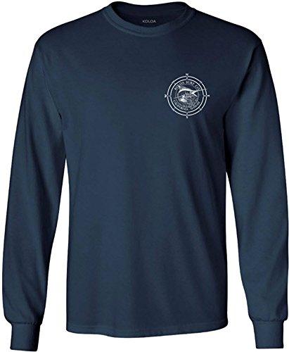 Koloa Surf(tm) Long Sleeve Marlin Logo Heavy Cotton T-Shirt-Navy/w-L