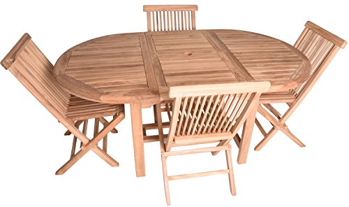 Zenvida 5 Piece Teak Extendable Dining Table with Folding Chairs Set ()