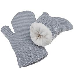 Toddler kids warm fall winter mittens fleece lined unisex (Mitten M: 9-36m, Grey)