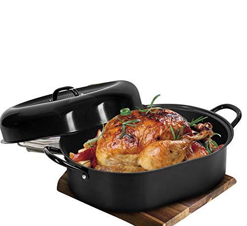 "Granitestone 15"" Nonstick Roaster, Covered Oval Aluminum Roasting Pan for Turkey, Poultry, Meats, Baking & More…"