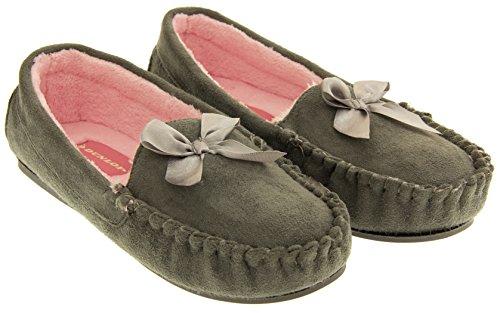 Dunlop Mujer Imitación de Piel Forradas Zapatillas de Mocasín Paloma gris