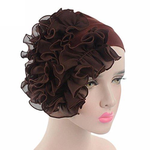Littleice Women Flower Cancer Chemo Hat Beanie Scarf Turban Head Wrap Cap Headband (Coffee) (Flowers Scarf Headband)
