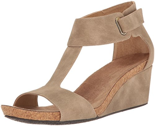 (ADRIENNE VITTADINI Footwear Women's Trellis Footbed T-Strap Wedge Sandal, Sand Sueded, 8.5 M US)