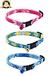 CatYou 3-Pack Pet Cat Puppy Floral Collars with Small Jingle Bells for Cats Baby Puppies Dogs Small Animals