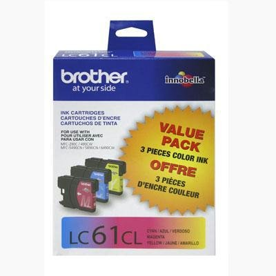 LC613PKS (LC-61) Ink, 500 Page-Yield, 3/Pack, Cyan; Magenta; Yellow