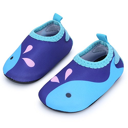 JIASUQI Fashion Outdoor Sports Water Aqua Skin Water Shoes Casual Beach Sandals for Baby Blue Fish 18-24 Months -