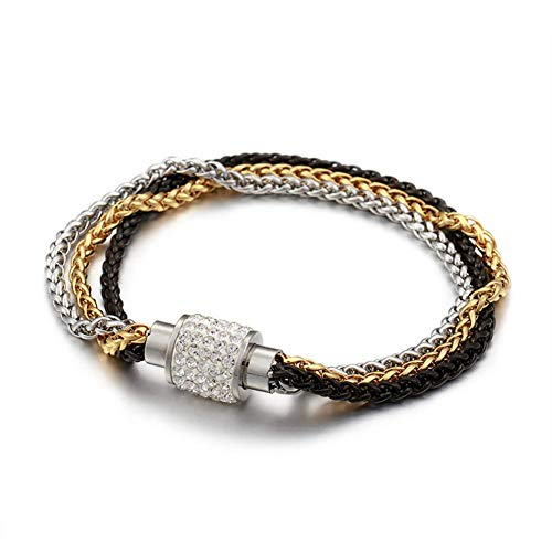 I'S ISAACSONG Stainless Steel Multilayer Link Strand Bracelet- 3 Colored Braided Chain with Magnetic Clasp Stackable Bangles for Women and Men (Yellow Gold, Silver, Black)