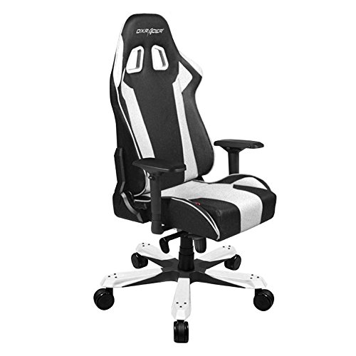 (DXRacer King Series DOH/KS06/NW Newedge Edition Racing Bucket Seat Office Chair Gaming Chair Ergonomic Computer Chair Esports Desk Chair Executive Chair Furniture with Pillows (Black/White))