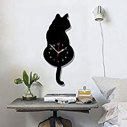 Keeplus Wall Clock Mute Creative DIY Cat Acrylic Wall Clock with Swing Tail Pendulum for Living Room Bedroom Kitchen Home Décor, 16.5'' X 7'' (Black)