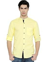 PIVOTO Men Yellow Slim Fit Casual Shirt