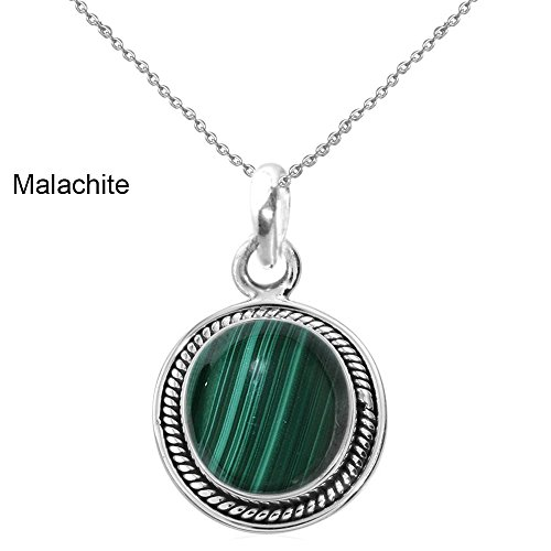 9.10ct,Genuine Cabachon Malachite & 925 Silver Plated Pendant (Genuine Malachite Pendant)