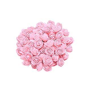 "Konxxtt Home Decor, 200Pcs 1 inch Mini PE Foam Rose Artificial Silk Flower Heads for DIY Wreath Wedding Decoration(H,2.5cm/1"") 18"