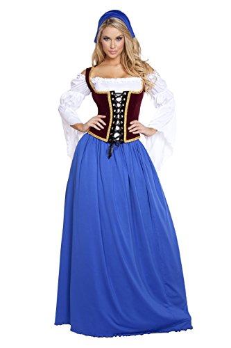 4 Piece German Beer Girl Bar Maiden Oktoberfest Blue Maxi Dress Party Costume (German Beer Maiden)