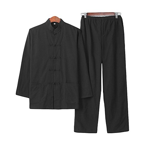 ZooBoo Chinese Martial Arts Suit - Chinese Traditional Tang Suit Costume Kung Fu Uniforms Long Sleeve Jacket Suits Shirt and Pant Outfit Uniforms for Man - Pure Cotton (M, Black) -