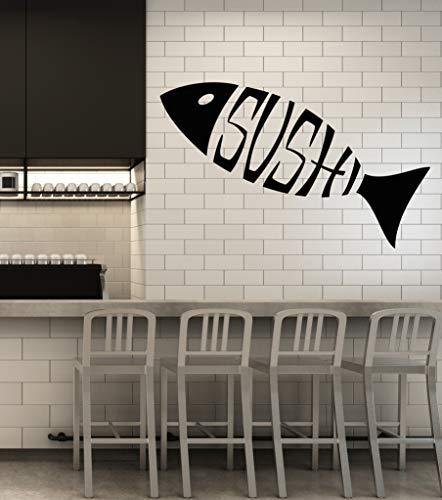 Vinyl Wall Decal Sushi Logo Restaurant Japanese Cuisine Stickers Large Decor (3364ig) Black