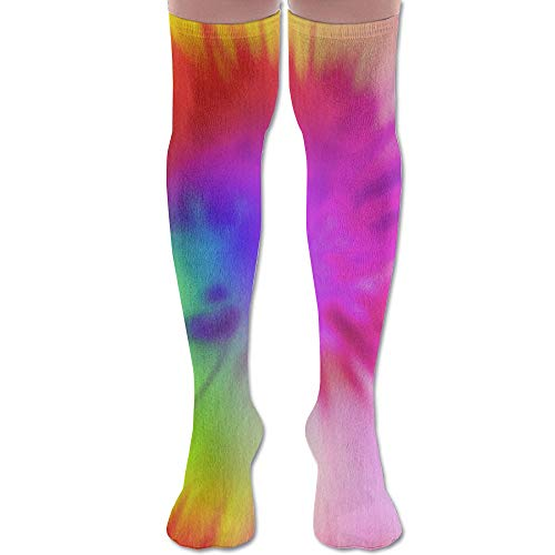 (Watercolour Tie Dye Polyester Cotton Over Knee Leg High Socks Cozy Unisex Thigh Stockings Cosplay Boot Long Tube Socks for Sports Gym Yoga Hiking Cycling Running Soccer)
