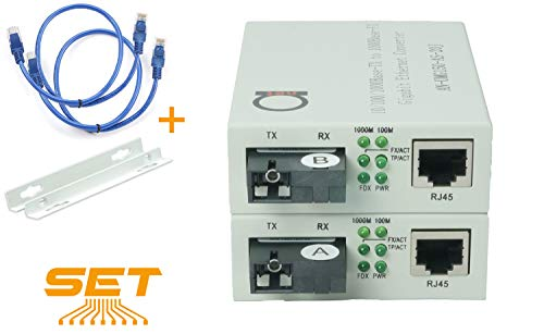 Single Mode SC WDM Single Fiber Bi-Di Gigabit Media Converter - Built-in Fiber Module 20km (12.42 Miles) - to UTP Cat5e Cat6 10 100 1000 RJ-45 - Auto Sensing Gigabit or Fast Ethernet Speed -1 Pair