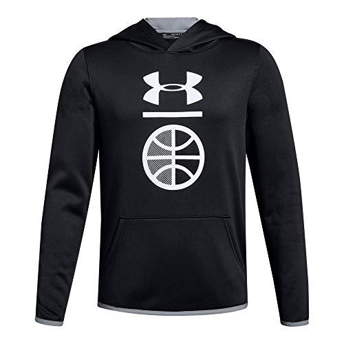 Under Armour Boys Armour Fleece Sport Logo Hoody, Black (001)/White, Youth X-Large
