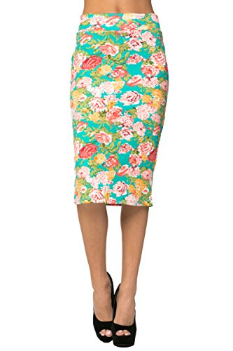 2LUV Women's Solid & Multicolor Print High Waisted Pencil Skirt Turquoise & (Turquoise Floral Skirt)
