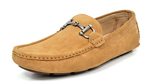Bruno MARC MODA ITALY LANE-02 Men's Classy Slip On Square Toe Silver Buckle Casual Loafers Driving Shoes TAN SIZE 8.5