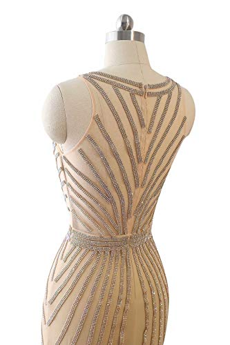 Mermaid Kleider Champagner2 V Lange Formale Frauen Abendkleider King's Strass Maxi Love Prom Ausschnitt THqwxaBt