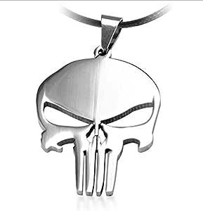 MARVEL Super Hero SKULL The PUNISHER الظلام فارس الفولاذ المقاوم للصدأ سلسلة قلادة جلدية