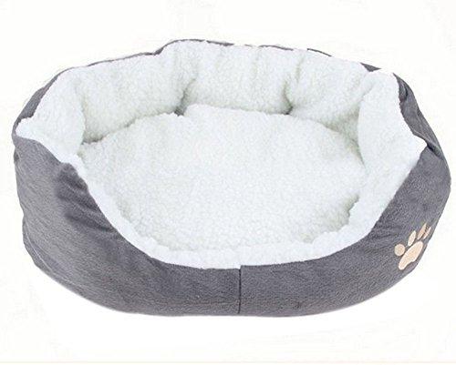 Demana Cama para mascotas redonda o de forma oval dimple fleece nesting perro cueva para gatos y perros pequeños,45 cm*35...