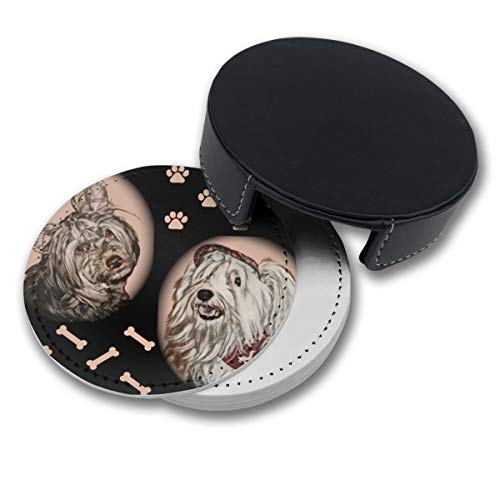 (RZ GMSC Paws and Yorkshire Terriers Coasters for Drinks,PU Leather Coasters with Holder,Suitable for Kinds of Mugs and Cups,Protect Furniture from Damage(6PCS))