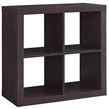 Better Homes And Gardens Bookshelf Square Storage Cabinet 4 Cube Organizer  (Espresso, 4
