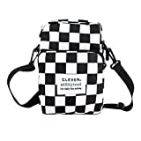 Van Caro Canvas Mini Crossbody- Plaid Printing Travel Shopping Shoulder Bag Smartphone Purse