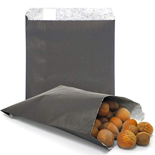 AZOWA 100 CT Small Paper Treat Sacks Black 5 x 7 Inches Candy Buffet Bags for Party