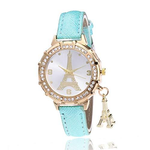 SuperLina Women Bracelet Watch Tower Diamond Pendant Ladies Leather Analog Quartz Wrist Watches Clock Relojes Mujer(OneSize,Mint Green)