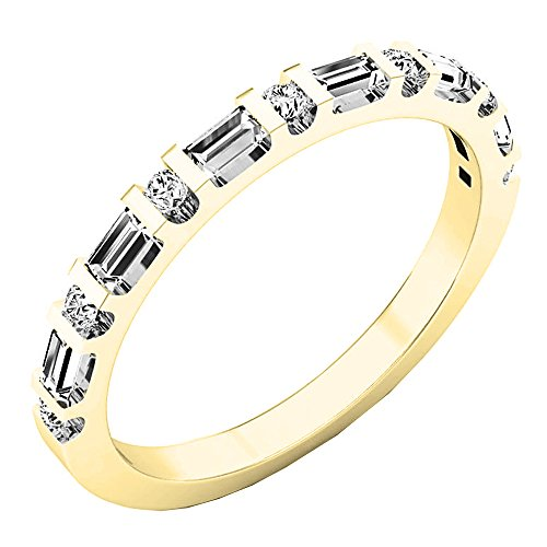 (Dazzlingrock Collection 0.33 Carat (ctw) 14K Round & Baguette Diamond Ladies Wedding Band 1/3 CT, Yellow Gold, Size 7)
