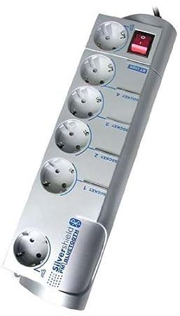 Gembird SIS-PMS 6-fach Überspannungsschutz mit Timer Funktion und Bluetooth silber