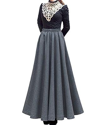 Femirah Women's Grey Elastic Waist A Line Long Maxi Woolen Skirt
