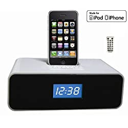 OT3040 30-Pin Audio System & Alarm Clock , FM Radio for iPhone/iPod W/ remote control.-White color