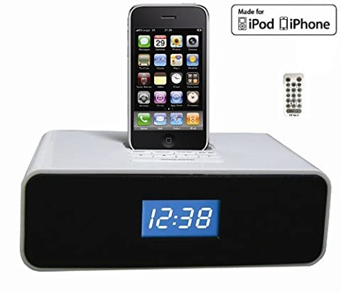 OT3040 30-Pin Audio System & Alarm Clock , FM Radio for iPhone/iPod W/ remote control.-White color (Ipod Dock With Clock)