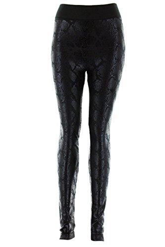D&K Monarchy Women's Metallic Leggings (0-12) Black (Snake)