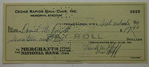 Danny McDevitt (d.10) Brooklyn Dodgers Auto Signed Cedar Rapids 1956 PayCheck ()