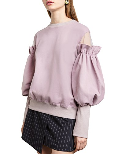 Puff Hoodie Sleeve - HaoDuoYi Womens Fashion Tulle Patch Ruffle Long Puff Sleeve Pullover Sweatshirt(XL,Purple)