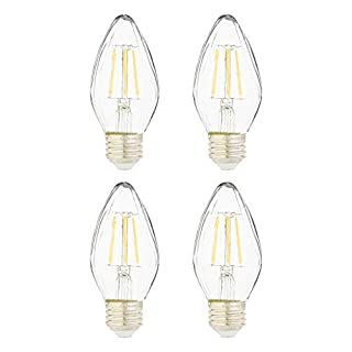 AmazonBasics 60 Watt Equivalent, Clear, Dimmable, F15 LED Light Bulb| Soft White, 4-Pack