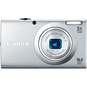 Canon PowerShot A2400 IS 16.0 MP Digital Camera with 5x Optical Image Stabilized Zoom 28mm Wide-Angle Lens with 720p Full HD Video Recording and 2.7-Inch Touch Panel LCD (Silver) (OLD MODEL)