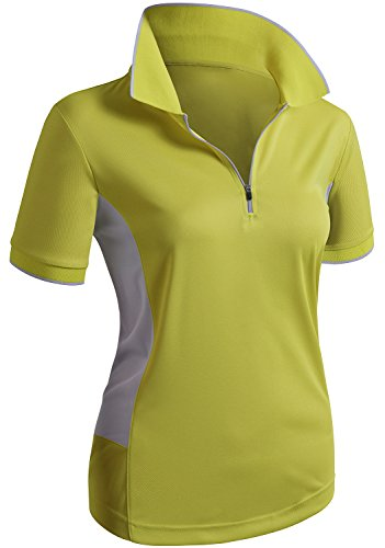 CLOVERY Golf Wear Moisture Wicking Short Sleeve Zipup POLO Shirt MUSTARD US M/Tag M