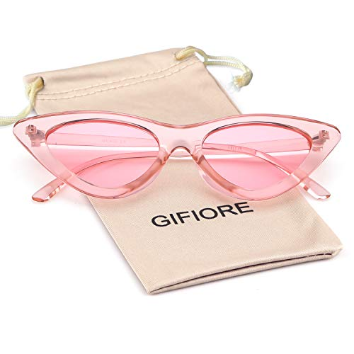 Retro Vintage Cat Eye Sunglasses for Women Clout Goggles Plastic Frame Glasses (Transparent Pink, ()